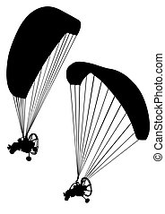 Motorized paraglider - Sportsman on a motorized paraglider...