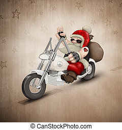 Motorized Santa Claus - Santa Claus rides a motorcycle for...