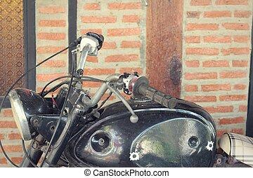 motorkerékpár, öreg, szüret, style.