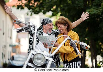 motorkerékpár, használ, párosít, város, mozgó szerkezetek,...
