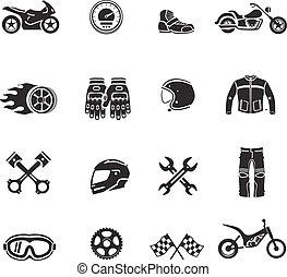motorkerékpár, ikonok, fekete, állhatatos, noha, szállítás, jelkép, elszigetelt, vektor