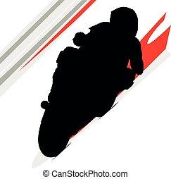 motorkerékpár, moto, faj, körorvos, superbike, bringás, sideline., piros, ív, útvonal, turn., biciklista, fehér, biztonság