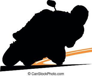 motorkerékpár, moto, körorvos, faj, superbike, bringás, sideline., biciklista, ív, útvonal, biztonság, turn., sárga