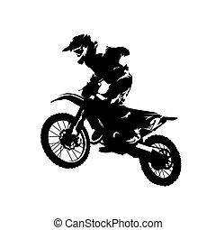 motorkerékpár, motokrossz, faj, elszigetelt, vektor, árnykép, lovas