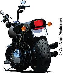 motorkerékpár, rear-side, vektor, nézet.