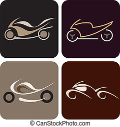 motorkerékpár, -, vektor, ikon