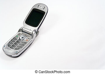 A closeup shot of an open Moto V551 mobile phone (all branding removed in Photoshop) shot in studio light against a white background. Text space is present to the right of the image. Meticulously clean.