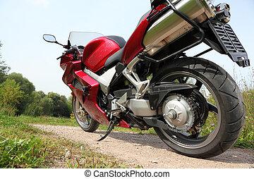motorrad, auf, ländlicher weg, ansicht unten