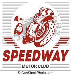 motorrad, -, extrem, sport., vektor, emblem.
