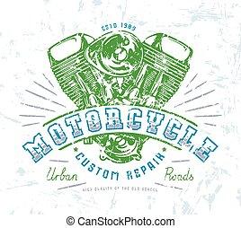 motorrad, klub, emblem, für, t-shirt