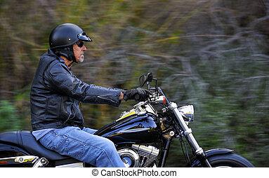 motorrad, mann, hat, freiheit