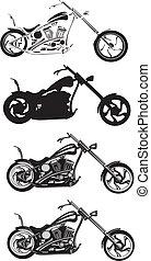 motorrad, zerhacker, -
