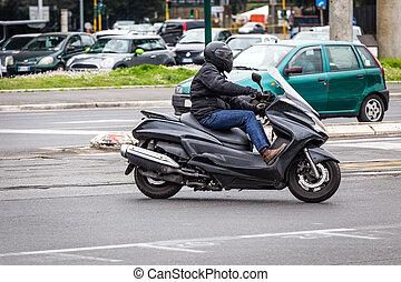 motorroller, auf, stadt, r
