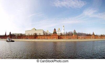 Motorship swim near of Kremlin on Moscow river, time lapse