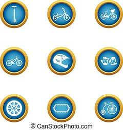Motorshow icons set, flat style - Motorshow icons set. Flat...