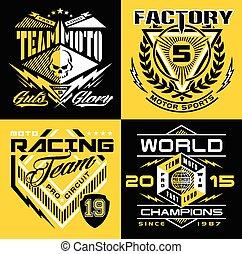 motorsport, conjunto, emblema, protector, carreras