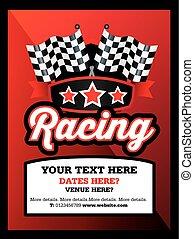 motorsport, het snelen, karting, club, gebeurtenis, of, lucifer, advertentie, stijl, poster
