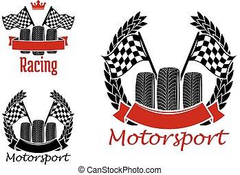 motorsport, hjul, flaggan, konkurrens, ikonen