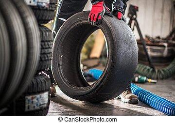 motorsport, liscio, pneumatico