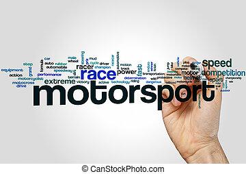 motorsport, słowo, chmura