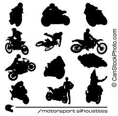 motorsport, silhuetter, samling