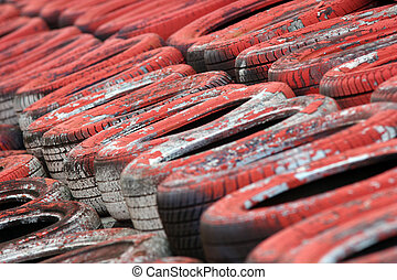 Motorsport Tyre Wall (Red) - A red painted section of a ...