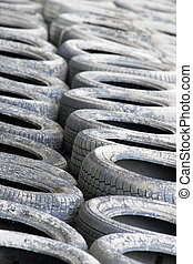 Motorsport Tyre Wall (White) - A white painted section of a ...