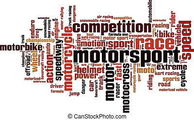 Motorsport word cloud concept. Vector illustration