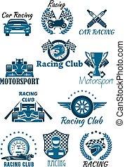 motorsports, tävlings-, isolerat, ikonen