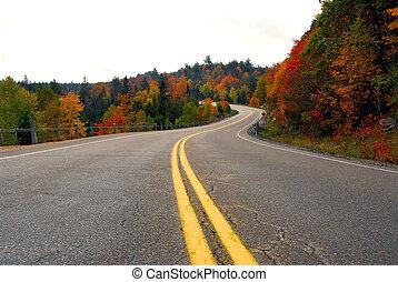 motorväg, falla