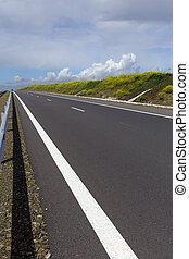 motorväg, in, fjäder