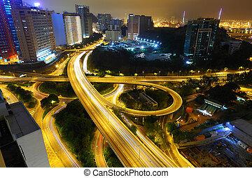 motorväg, in, natt