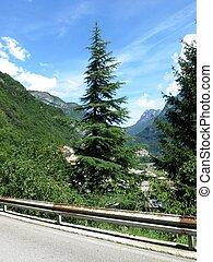 motorväg, italien, alperna