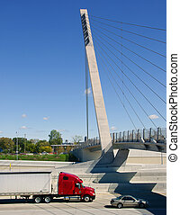 motorväg, lastbil, halv-,  Detroit