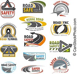 motorväg, sätta, motorväg, vrida, tvärgata, väg, ikon