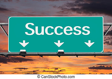motorväg, till, framgång, vägmärke