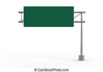 motorväg, tom, grön, underteckna