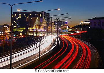 motorväg, trafik