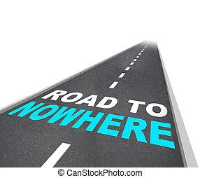 motorväg, väg, -, ingenstans, ord