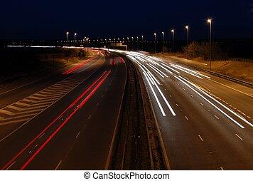 Motorway At Night - Motorway just as it goes dark with...