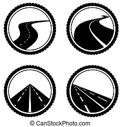 Motorway - Icon on the road. The illustration on a white...