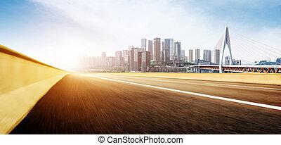 motorway, i, nowoczesny, miasto, drapacze chmur