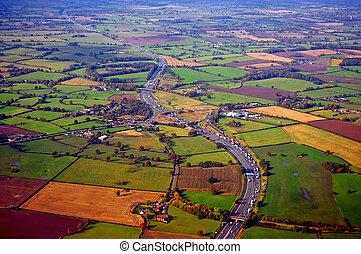 Motorway in the UK - Aerial view of the M56 motorway,...
