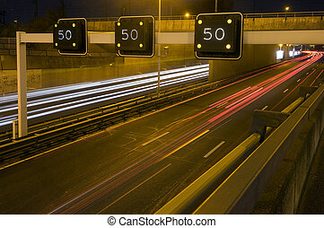 Motorway Information System indicating a speed limit and...