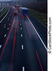motorway, na, zmierzch