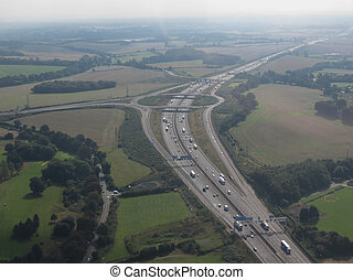 motorway roundabout junction near London, United Kingdom
