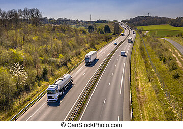 Motorway Traffic seen from Above