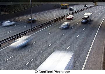 Motorway Traffic - traffic motion blurred on a motorway