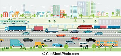 Motorway, traffic with cars and railroad Vektor Illustration