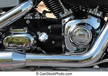 detail of a chrome motorbike engine